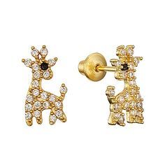 14k Gold Plated Brass Giraffe Screwback Girls Earrings with Sterling Silver Post – Friendly Faces
