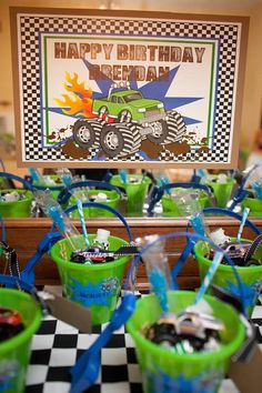 Monster Truck Party favors.  I know a very sweet little guy that would love the monster truck theme!