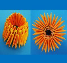 Paso a paso para hacer una piña en Origami 3D: Piña con tres hileras de…