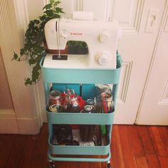 Creative Ideas For Organizing Your Scrapbook Supplies Using The Raskog Cart From IKEA See More Craft Carts On Wheels