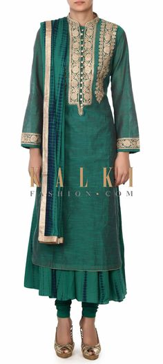 Buy this Dark green straight suit adorn in zari embroidery only on Kalki