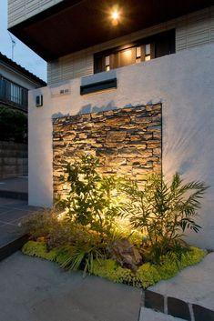 Fence Wall Design, Garden Wall Designs, House Front Design, Small Garden Design, Outdoor Wall Fountains, Outdoor Walls, Outdoor Decor, Outdoor Wall Lighting, Outdoor Landscaping