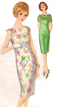 Vintage 60s Simplicity Sewing Pattern 5389 Womens One Piece Dress Summer Sheath Dress Size 16 Bust 36