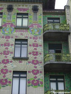 Majolica House, by Otto Wagner, at Vienna, Austria, 1898 to 1899.