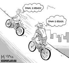 Friday Cartoon E Bikes Bikeportlandorg Electric Cargo Bike, Electric Tricycle, Friday Cartoon, Mobiles, E Bike Kit, Bike Humor, Bike Stickers, Power Bike, Bicycle Shop