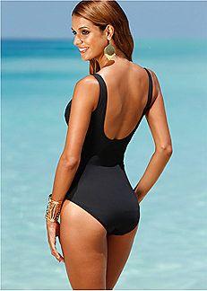 5d313eab4f3f3 Black Metallic Dart Shaper Swimsuit by bpc selection premium Swimwear 2015