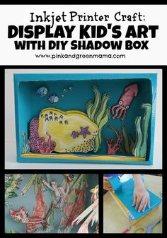 Inkjet Printer Craft DIY Shadow Box with Cereal Box pink and green mama blog