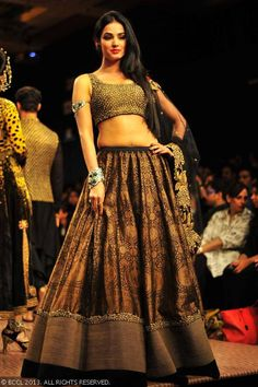 Black and gold lengha by  Shantanu Goenka at Lakme Fashion Week (LFW) Winter/Festive 2013