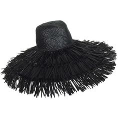 View this item and discover similar hats for sale at - Vintage Eric Javits  glazed black straw shaggy fringe wide brim hat is a great hat with a very  retro ... 5e79adb157e