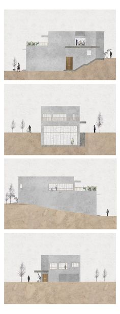 This elevation drawing, although minimalistic, displays elevation tht clearly illustrates the shape and details of the house.