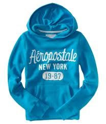"""this isn't my exact one...but i have a black Aeropostale hoodie with baby blue printed """"AEROPOSTALE"""" on it, and i've had this thing for about 10 years and wear it at least every other day - it's my go-to comfy shirt & parts of it are literally hanging by a thread!"""