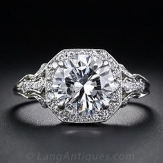 2.17 Carat D Colorless Diamond Edwardian Style Engagement Ring - GIA D/VS2 - Antique & Vintage Diamond Rings - Vintage Jewelry