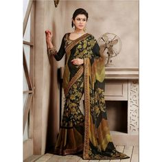 Beige and Black Georgette #Wedding #Saree With #Blouse