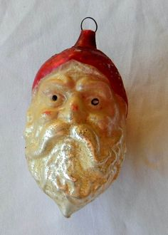 Antique Mercury Glass Stern Santa Head Figural Christmas Ornament Germany | eBay