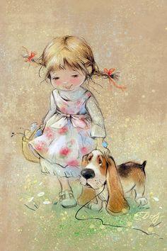 """Friends"", Dog Basset Hound and a little girl, artist Babok, modern postcard Art And Illustration, Illustration Mignonne, Cute Images, Cute Pictures, Art Fantaisiste, Art Mignon, Sarah Kay, Whimsical Art, Cute Cartoon"