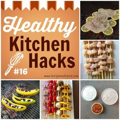 Healthy Kitchen Hacks - Grilling Edition! 1) Grill Fish on Lemons   2) Smarter Ways to Make Kabobs, 3) Easy Salsa Yogurt Marinade 4) Grilled Banana S'mores | Teaspoonofspice.com @tspbasil #healthykitchenhacks
