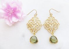 Green Filigree Earrings Christmas Gift for Mom by LeCharmeJewelry