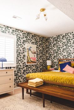 room makeover green We started this guest room makeover when we fell in love with this Pine Wallpaper from Sandburg. It makes our basement guestroom feel cozy like a cabin, while the modern furniture and bright colors dress it up! Room Color Schemes, Room Colors, Home Bedroom, Bedroom Decor, Bedrooms, Wall Paper Bedroom, Basement Guest Rooms, Basement Makeover, New Shape