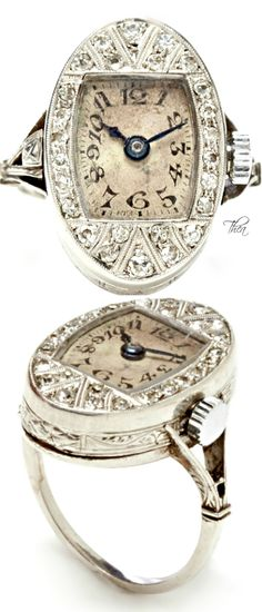 Vintage Edwardian Diamond And Platinum Watch Ring ~ very interesting and much more striking than the watch rings of yesteryear; however it's hard to go wrong with diamonds & platinum! Art Deco Jewelry, Jewelry Box, Jewelry Rings, Jewelery, Jewelry Accessories, Fine Jewelry, Jewelry Design, Edwardian Jewelry, Antique Jewelry