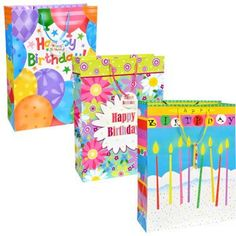 Voila XL Brightly-Colored Birthday-Themed Gift Bag