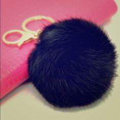 REAL Rabbit fur Pom Pom black w/silver key chain. REAL Rabbit fur Pom Pom black w/silver key chain. Accessories Key & Card Holders