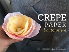 Watch as I show you how easy it is to make a stylish crepe paper flower in pastel tones. Use a single flower as a boutonniere, or create a bouquet! Paper Flowers Wedding, Crepe Paper Flowers, Paper Roses, Wedding Paper, Making A Bouquet, Flower Making, Giant Flowers, Diy Flowers, Free Printable Wedding Invitations