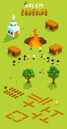 """""""Today I did some impromptu art for a TOJam game by Jotapeh called Salem Crossing. It combines Animal Crossing with the Salem Witch Trials."""" - Ted Martens"""