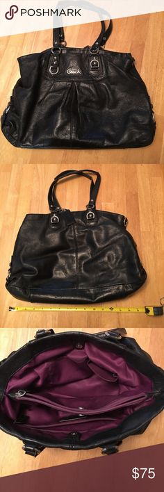 Black Coach bag. Great condition! Black authentic COACH bag with dark purple interior liner. Middle zipper pocket. Inside side zipper pocket and 2 small separate inside pockets. It's a good size bag to fit everything you need!! Comes in authentic COACH packing bag!! Coach Bags