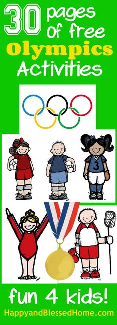 30 Pages of free Olympics Activities -Homeschool Printables for Teachers , Preschoolers, and Kids from HappyandBlessedHome.com Focuses on Summer sports and includes worksheets for coloring, matching, tracing, painting, and problem solving. Learning fun for kids!