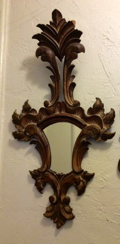 Vintage wood carved elongated  decorative mirror Italian style by LADYG99 on Etsy