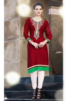Stylish Office Wear Brown Kurti With Simple Work 1007