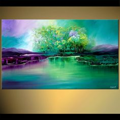 Original abstract art paintings by Osnat - landscape of group of green trees near lake