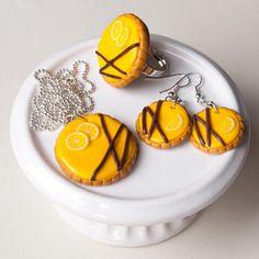 Parure tarte au citron - bijoux gourmands en pâte fimo