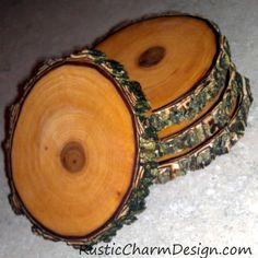 rustic wooden coasters set of four by rusticcharmdesign on etsy arts crafts rustic charm