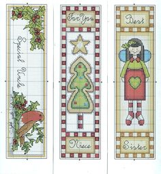 Cross-stitch Christmas bookmarks.. no color chart, just use pattern chart colors as your guide.. or choose your own colors.