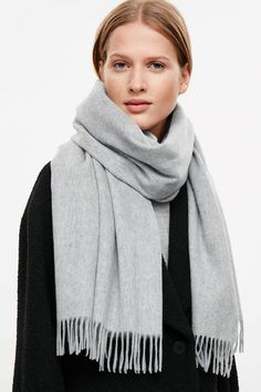 COS image 3 of Wool-cashmere scarf in Light Grey