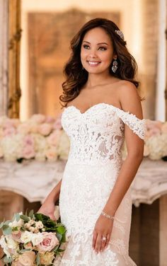 6626 Lavish Fit-and-Flare Wedding Dress by Stella York, we have an Ivory/Moscato size 14   www.anniesroombridal.com