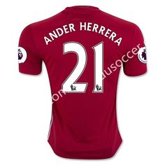 2016-17 Manchester United Home ANDER HERRERA Red Thailand Soccer Jersey AAA