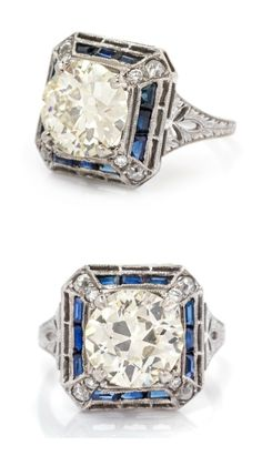 A platinum, diamond, and sapphire ring. This would be such a glorious engagement ring!