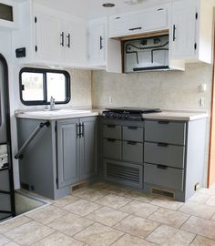 Rv camping ideas on pinterest rv tips rv camping and for Camper kitchen cabinets
