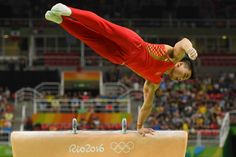 Gymnastics at the Rio Olympics - Chaopan Lin (CHN) competes pommel horse in the men's qualification during the Rio 2016 Summer Olympic Games at Rio Olympic Arena.
