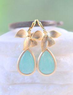 Aqua Teardrop and Gold Orchid Dangle Drop Earrings.  Aqua Dangle Bridesmaid Earrings. Jewelry Gift for Her.  Free Shipping. - $28