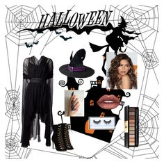 """#halloween"" by selintunacc ❤ liked on Polyvore featuring Lime Crime, Yves Saint Laurent, Huda Beauty and Coleman"