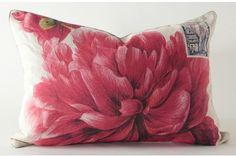 Pink dahlia linen pillow