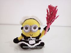 Amigurumi Frenchie the 2 eyed Minion in a French Maid Outfit ~ Free pattern