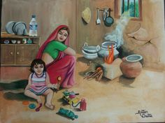 Ratan Dutta paintings Indian beautiful village women coocks Art Village, Indian Village, Village Scene Drawing, Indian Art Paintings, Cool Paintings, Art Pictures, Art Images, Rajasthani Painting, Composition Painting
