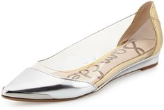 Sam Edelman Isabella Mixed-Media Flat, Soft Silver on shopstyle.com