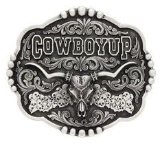 Cowboy Up Skull Belt Buckle