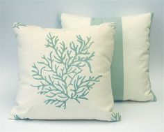 Beach Decor Pillow - Aqua Coral Pillow Cover 16x16. $59.00, via Etsy.