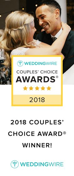 We're honored to win a 2018 WeddingWire Couples' Choice Award! Thank you to all of our clients who reviewed us to help us win!